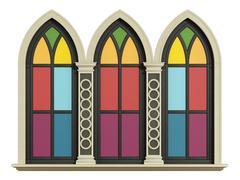 Mullioned gothic window with stone frame - stock illustration