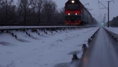 Train Moves On Railroad. Stock Footage