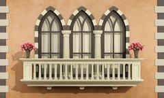 Old facade with classic balcony balustrade - stock illustration