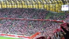 Crowds on a football stadium Stock Footage