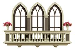 Classic balcony with triple lancet window Stock Illustration