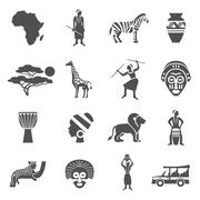Africa Black White Icons Set Stock Illustration