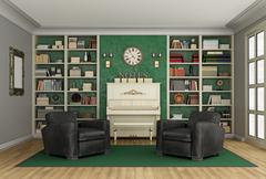 Luxury living room  bookcase and upright piano Stock Illustration