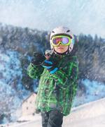 Little skier portrait in ski areal Stock Photos