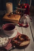 Christmas time mood evening tea party - stock photo