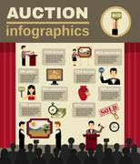 Auction Infographic Set - stock illustration