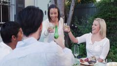 Dinner barbeque party speech toast Stock Footage