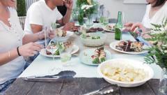 dinner garden party - stock footage