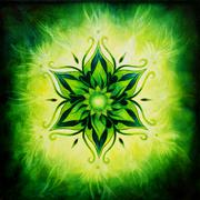Flower Mandala on a green background oil painting - stock illustration