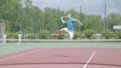 Stock Video Footage of Tennis overhead jump smash. Spectacular  shot in slow motion