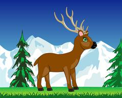 Stock Illustration of Deer on glade