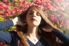Portrait of beautiful teenage girl - stock photo