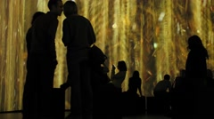People in the background projections paintings Stock Footage