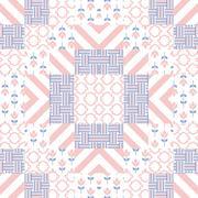 Patchwork quilt vector pattern tiles - stock illustration