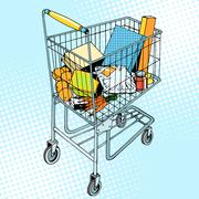 grocery trolley with food - stock illustration