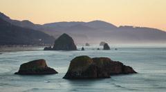 Oregon Coast, Cannon Beach, Dusk - stock footage