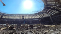 Work on the construction of the stadium in Luzhniki at sunny day Stock Footage
