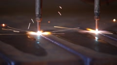 Torch cutting through steel in mill. Stock Footage
