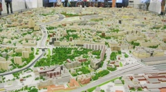A large project in Moscow in miniature, some areas are highlighted. Stock Footage