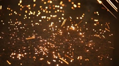 Industrial Sparks in Steel Mill Stock Footage