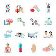 Flat Color Biotechnology Icons Set Stock Illustration