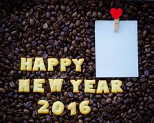 """Alphabet """" happy new year 2016"""" made from bread cookies Stock Photos"""
