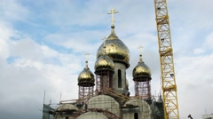 Workers employed on the construction of the church Matrona of Moscow Stock Footage