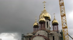 Stock Video Footage of Workers employed on the construction of the church Matrona of Moscow