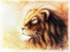 Lion painting  fractal filtered image of a lion profile portrait Stock Illustration