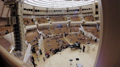 Spectators take place in hall of Moscow International House of Music. Stock Footage