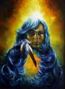 oil painting on canvas of a woman fairy goddess with a feather of wisdom and a - stock illustration