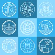 Water emblem set - stock illustration
