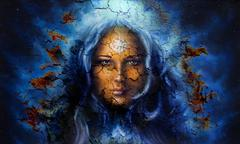 Mystic face women, with structure crackle background effect, with star on Stock Illustration