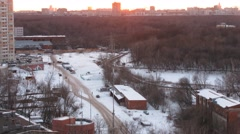 The road in a residential area at winter day. Time lapse. Stock Footage