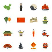 Chinese Culture Symbols Flat Icons Set Stock Illustration