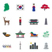 Stock Illustration of Korean Culture Symbols Flat Icons Set