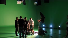 Green Studio prepared for clip shooting. Time lapse. Stock Footage