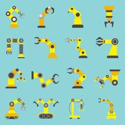 Stock Illustration of Robotic Arm Flat Yellow Icons Set