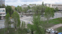 Crossroads in a residential area in spring day. Time lapse. Stock Footage