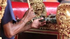 Traditional balinese gamelan music instrument. Bali island, Ubud, Indonesia Stock Footage