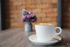 Coffee on wood background Stock Photos