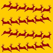 Christmas deer fabric pattern - stock illustration