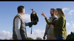 4K Vulture takes flight from the glove of a visitor to a falconry centre Stock Footage
