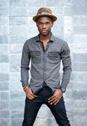 African american male fashion model with hat - stock photo
