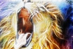 lion fractal  abstract cosmical background fractal efect - stock illustration