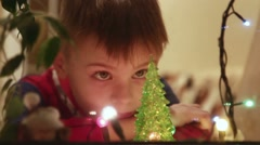 Boy wait for christmas Stock Footage