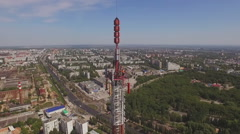 Aerial of a Telecommunication Tower 6 Stock Footage