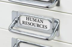 A drawer cabinet with the label Human Resources - stock photo