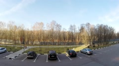 The view from the window into parking lot near apartment house. Stock Footage