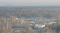 One of the industrial areas of cities in the foggy day. Time lapse Stock Footage